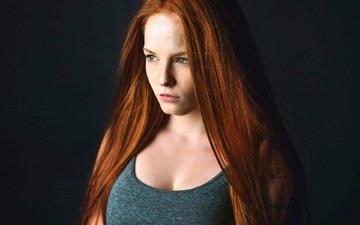 девушка, портрет, взгляд, волосы, лицо, веснушки, рыжеволосая, мартин кюн
