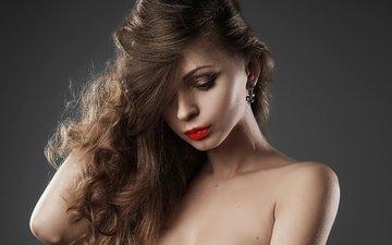 девушка, портрет, взгляд, модель, волосы, губы, лицо, помада, шатенка, длинноволосая, надежда хаустова