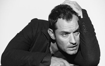 pose, look, black and white, actor, jude law, david jude hayworth low