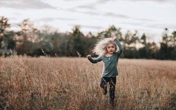 nature, field, children, girl, hair, running
