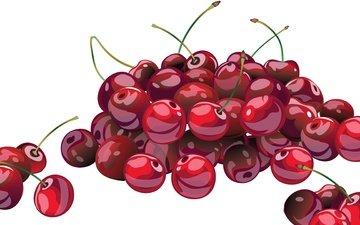 арт, рисунок, макро, черешня, ягоды, вишня