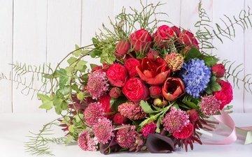 цветы, розы, букет, каллы, гиацинт, амариллис