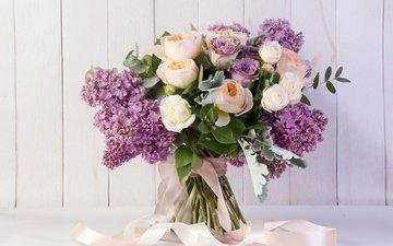 цветы, розы, букет, лента, сирень