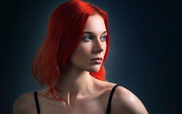 девушка, портрет, взгляд, модель, волосы, лицо, рыжеволосая, голубоглазая, агата