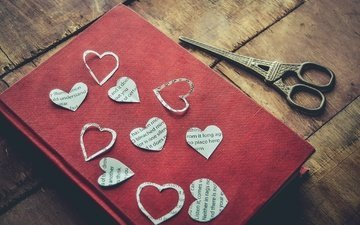 heart, book, scissors