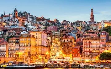 огни, склон, панорама, дома, португалия, порто