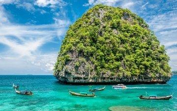 солнце, берег, море, пляж, лодки, пальмы, остров