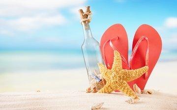 солнце, море, песок, пляж, лето, ракушки, бутылка, морская звезда, каникулы, сланцы