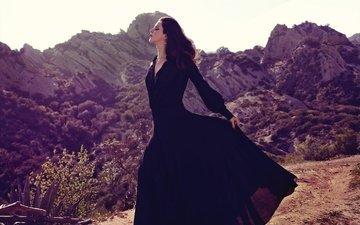 the sun, nature, landscape, dress, brunette, singer, makeup, hairstyle, lana del rey