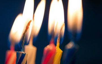 candles, flame, macro, fire, black background, candle
