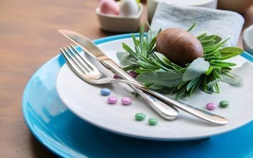 candy, easter, chocolate, sweet, plate, serving, pills, chocolate egg