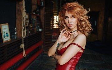 девушка, взгляд, тату, волосы, в красном, декольте, рыжеволосая, вика, виктория горавская