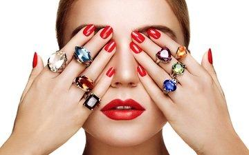 украшения, девушка, модель, губы, лицо, руки, пальцы, кольца, макияж, помада, маникюр