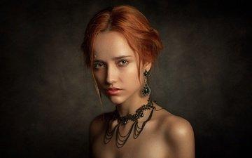 украшения, девушка, портрет, взгляд, волосы, рыжеволосая, кареглазая, aleksia