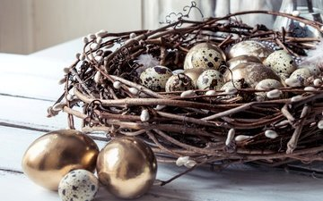 branches, spring, feathers, easter, gold, socket, verba, the painted eggs, quail eggs