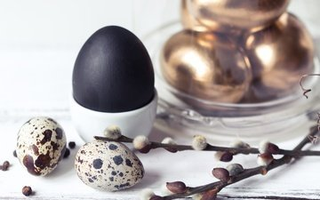 branches, spring, feathers, easter, gold, verba, the painted eggs, quail eggs