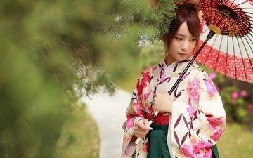 стиль, девушка, настроение, ветки, взгляд, зонт, азиатка, brode十三