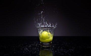 water, squirt, lemon, glass, liquid, jwharperphotography