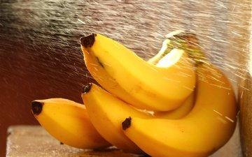 вода, капли, еда, фрукты, банан, бананы