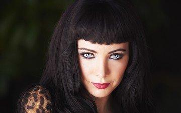 girl, portrait, look, hair, face, blue eyes, makeup, red lipstick, long hair, ksenia solo