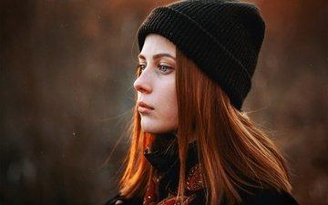 девушка, взгляд, профиль, волосы, шапка, рыжеволосая