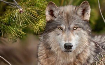арт, рисунок, взгляд, волк, сосна