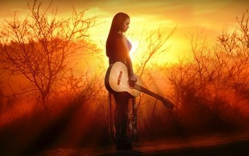 nature, sunset, girl, guitar