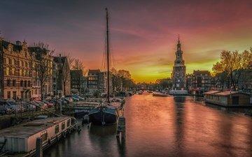 закат, корабли, канал, набережная, нидерланды, амстердам