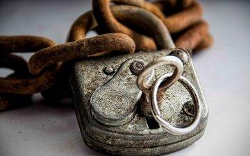 металл, макро, замок, ключ, ржавчина, цепи