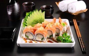 зелень, фон, рыба, палочки, соус, суши, роллы, морепродукты, японская кухня, огурец, сервировка