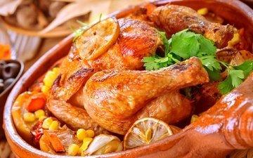 зелень, кукуруза, овощи, мясо, курица, петрушка