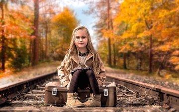железная дорога, очки, дети, девочка, волосы, лицо, чемодан