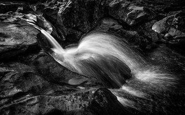 вода, река, скалы, камни, водопад, великобритания, чёрно-белое, поток, шотландия, sophiaspurgin