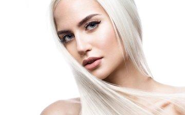 девушка, взгляд, волосы, лицо, макияж, прическа, блонд, make up