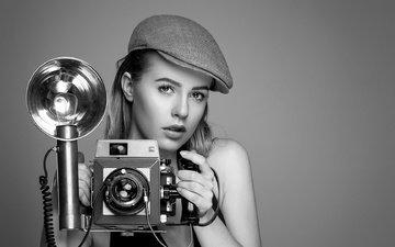 платье, блондинка, портрет, чёрно-белое, модель, волосы, глаз, камера, макияж, гламур, кепка, белла, нора, взгляд., two beautys, mamiya press 23, fotomanufaktur-hertzsch.de