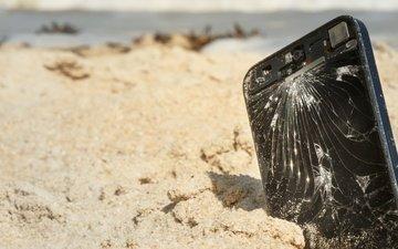 песок, пляж, телефон, экран, песка, сотовая, сотовый