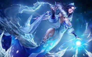 девушка, взгляд, лёд, волосы, магия, голубая, фантазии, gевочка, дичь, king of glory