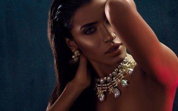 eyes, decoration, girl, brunette, look, model, lips, face, actress, indian, priyanka karunakaran