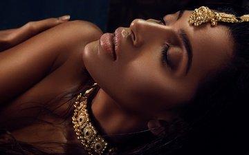 eyes, decoration, girl, brunette, model, lips, face, actress, closed eyes, indian, priyanka karunakaran