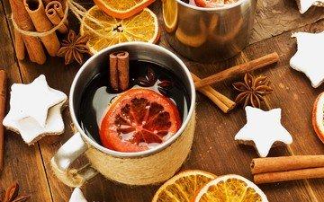 напиток, корица, кружка, апельсин, алкоголь, печенье, анис, глинтвейн