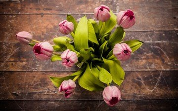 flowers, the view from the top, bouquet, tulips, pink, wooden surface