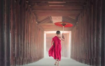 children, asia, buddha, boy, umbrella, faith, barefoot