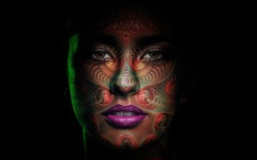 art, style, girl, portrait, black background, face, painting, makeup, the goddess of the moon, mama killa, mom kiel
