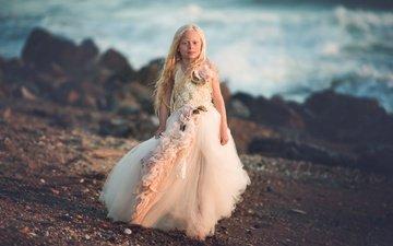 берег, платье, дети, девочка, волосы, лицо, ребенок, sea princess