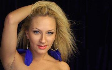 девушка, блондинка, взгляд, волосы, лицо, певица, сёрьги, julia lasker