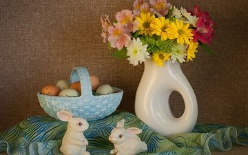 flowers, bouquet, easter, eggs, basket, bunnies