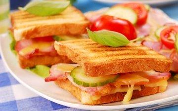 зелень, бутерброд, сыр, хлеб, овощи, огурец, бекон