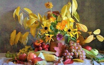 цветы, листья, виноград, фрукты, яблоки, букет, кукуруза, натюрморт, календула, редис