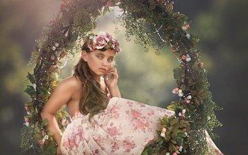 цветы, платье, дети, девочка, волосы, лицо, венок, качели