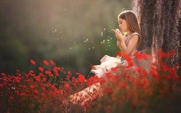 цветы, природа, дерево, дети, девочка, волосы, лицо, ребенок, ствол, одуванчик